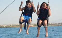 On a trip to Hurghada, Egypt, freshman Alia Hammad and her cousin Omar parachute over the Red Sea. This adventure took place in July 2019, about four months before her big move.