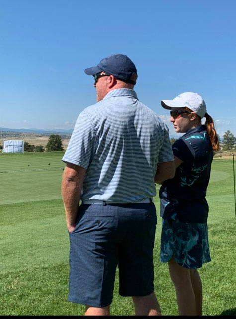 During the Drive, Chip and Putt Regional Finals in Colorado, Jamie and Kylie Secrest overlook the course. The Regional Finals took place in fall of 2019, about a month prior to Jamie