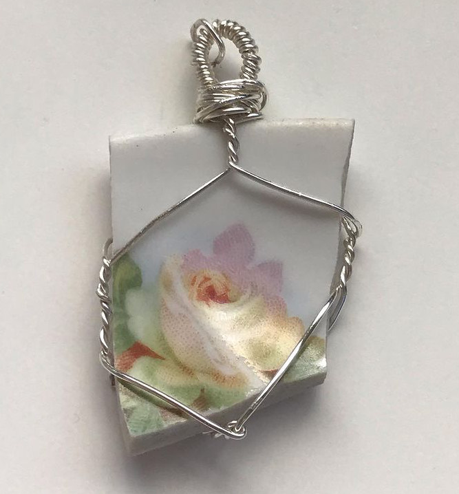 Will Be For Sale - Porcelain Wire Wrapped Necklace.
