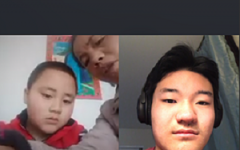 """Senior Skyler Ji converses with students on a video call. Ji, who has been speaking Chinese since birth, treasured the opportunity to talk with native Chinese speakers. """"I wanted to join because of the opportunity to talk to and interact with people in China. I used to go to town a lot, but, recently, I haven't been,"""" Ji said. """"I also wanted to join because of the opportunity to talk to Chinese people and see how COVID[-19] has been impacting them."""""""