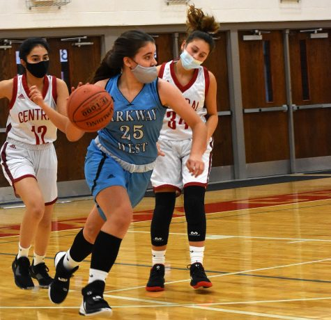"Dribbling the ball down the court, sophomore Maddie Humme looks for an open teammate to make a play. Humme has played basketball since she was in 1st grade and she is now in her junior varsity basketball season. ""Basketball is my zen. I"