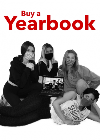 Seniors Grace Putnam,  Emma Breidecker, Maddie Brueggenjohann, Eli Fassler and Katelyn Tyree encourage you to buy a yearbook.