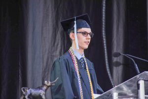 Senior Tyler Kinzy delivers the Class of 2021 Commencement Address.