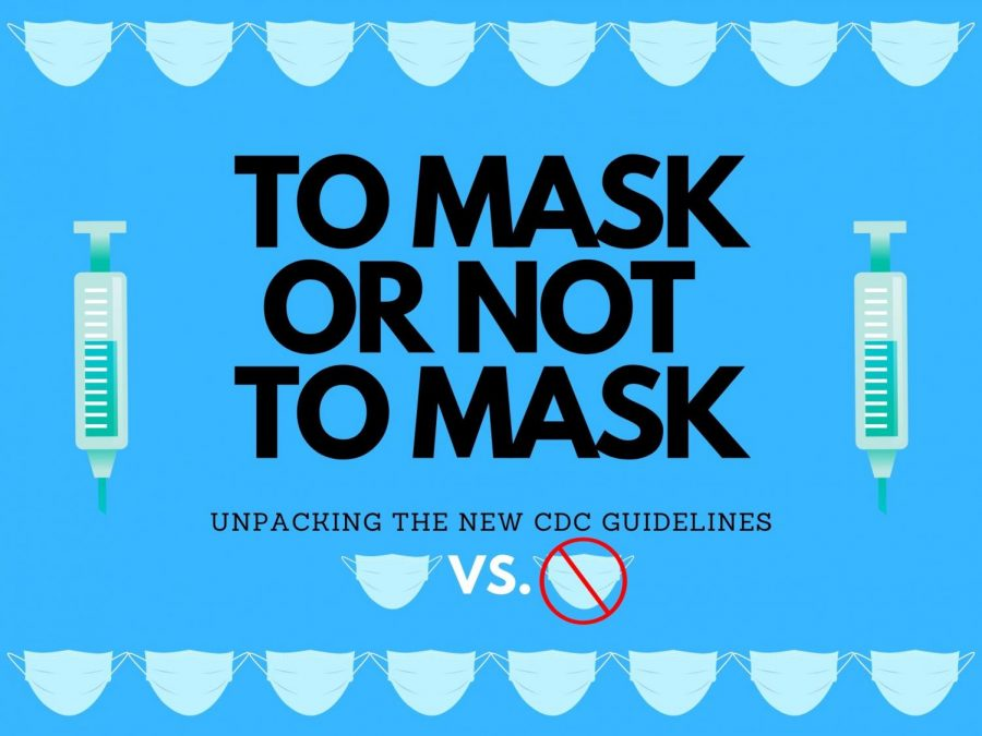 Photo illustration depicting new mask guidelines and the uncertainty they pose.