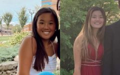 """Sophomore Lia Emry and her sister Jadyn Duczman smile in pictures that they've exchanged. The sisters have been sending photos back and forth on social media. """"We look alike. We're definitely not twins, but we do have some similar features,"""" Emry said."""