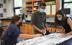 """Drawing out biogeochemical cycles in Paul Hage's AP Environmental Science class, seniors Callie DiCarlo, Waleed Abdulla and Sarah Boland use shaving cream as a memorization tool. Abdulla says that it was easier to remember the drawings than notes or readings. """"I thought the shaving cream activity was very fun because of how childish it was. It kinda brought [out] the kid in me. Creating a canvas of shaving cream wasn't exactly on my bucket list, but I'm glad I did it,"""" Abdulla said. """"It's important because fun activities mix creative thinking with education."""""""