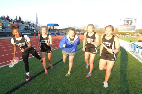 Varsity girls track relay team shattering records