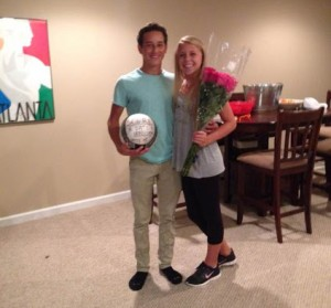 "While hanging out at a friend's house, Freshman Matthew Dixon asks Sophie Vietor, also a freshman, to Homecoming with a soccer ball and the phrase, ""Will you score a date to Homecoming with me?"""