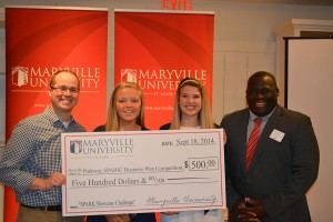 The winners of the competition accept a 500 dollar startup donation form Maryville University