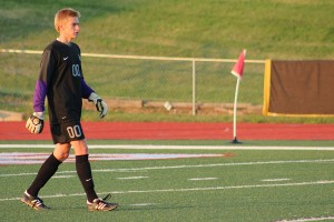 Sophomore Andrew Engelmeyer walks forward, out of the goal, as the longhorns defeat Rolla 3 to 1