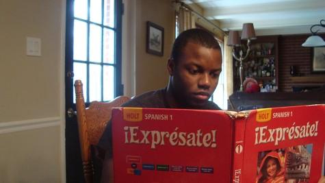 Junior Romeo Segura studies for his Spanish I class.