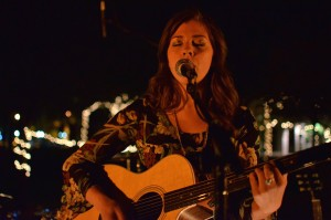 Worrell performs at the album release party at Mocha Joe's on Anderson University's campus on