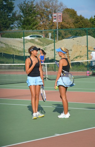"After beating Parkway Central in their Sectionals match, juniors Ava Larson and Claire Martin qualified for State. ""When I realized we had made it to state I started hyperventilating and I almost cried. I have been working for this for the last two years; placing fourth in districts freshman year and then I lost at sectionals last year,"" Martin said."