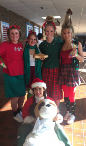 "Seniors Grace Miller, Gwenn Pietrowski, Megan Loaney, Mary Galkowski and Brittany Davega are awarded first place as the ""Who's from Whoville"" for best dressed."