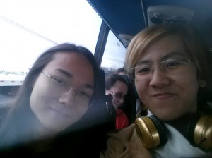 Junior Chiron Robinson and senior Steven Ou hang out on the bus to Kansas City for Thescon.