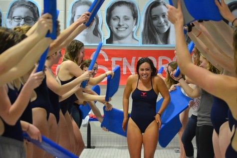 On Thursday, girls swimming team had their senior night with a meet held at West. Each senior did a signature dive to end the meet. [Haley Tiepelman, 11]