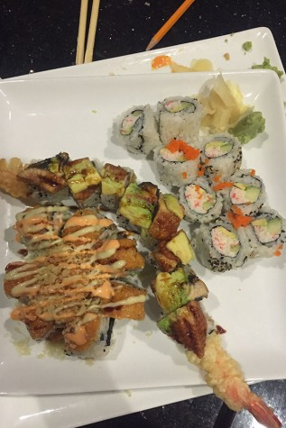 Plate of California roll, M&B II, and Wasabi Special.