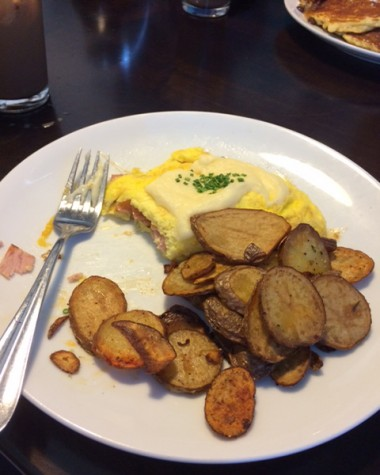 The Hangover omelet paired with breakfast potatoes.