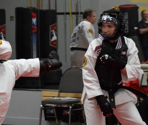 Angie Sanfilippo sparring at an ATA tournament