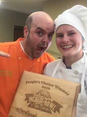 Magee poses for a selfie with Casey Schiller, the owner of Jilly's Cupcake Bar.