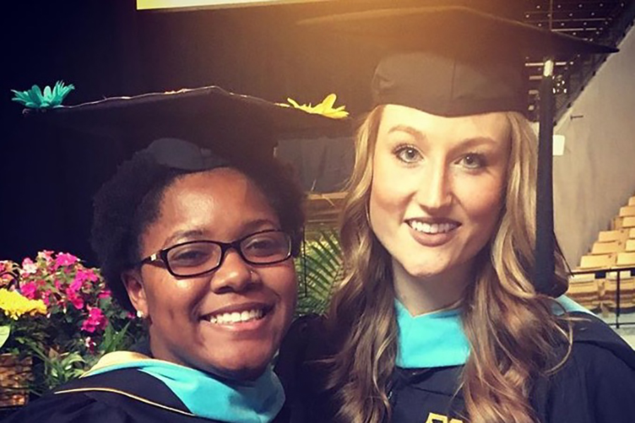 "Rose (right) graduated from the University of Missouri. She participated in student teaching for two schools in the Columbia, Missouri, but she got to eventually visited all four schools in the district. ""I was getting a lot of time and a lot of teaching practice in every school in the district,"" Rose said."