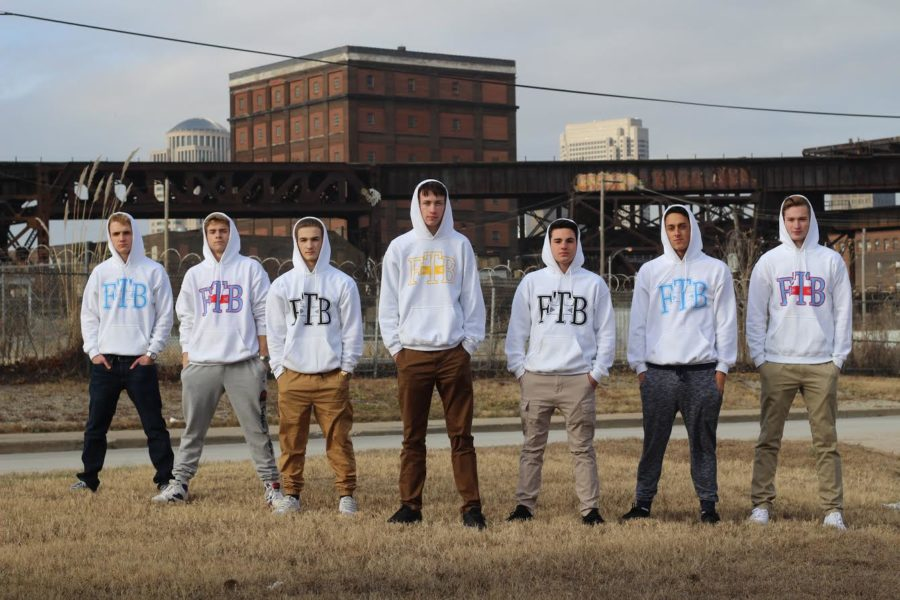 Seniors+Brett+Schade%2C+Jackson+Glisson%2C+Austin+Balestra%2C+James+Banks%2C+Tyler+Ramatowski%2C+Drew+Benoski+and+junior+Will+Patton+pose+for+a+photo.+The+boys+gathered+for+a+photoshoot%2C+and+this+is+currently+the+main+picture+on+the+website.+%22I+mean+it%E2%80%99s+not+really+anything+crazy+you+know+just+a+local+business+just+starting+out+selling++sweatshirts%2C+but+once+we+get+our+website+going+and+a+little+more+brand+recognition+I+think+we+could+really+have+potential+to+expand%2C%22+Glisson+said.