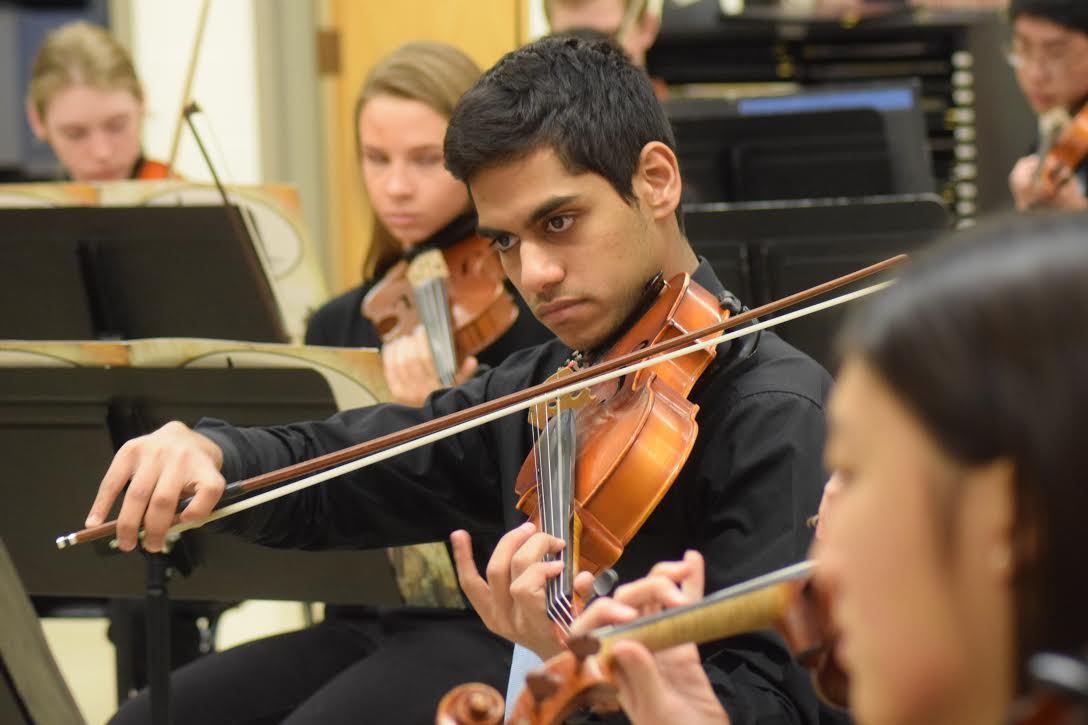 "Senior Yash Nayak practices for the group performance at the large group festival. West received an honor rating I, which is the highest score available out of 10. ""We were all working really hard to get the best score we could,"" Nayak said. ""The hardest part was our first piece because we didn't know what to expect and had to adapt to what the judges were looking for."""