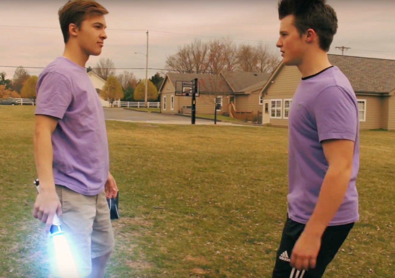 "Westminster senior Trent Tarantino and Roseman face off in a scene from the film they created, ""The Secret Life of Trent."" The film was made last year for Krewtube and the film was the product of days of work. ""Single scenes can take up to 20 to 30 hours long because it's difficult to get the shot perfectly down,"" Martin said."