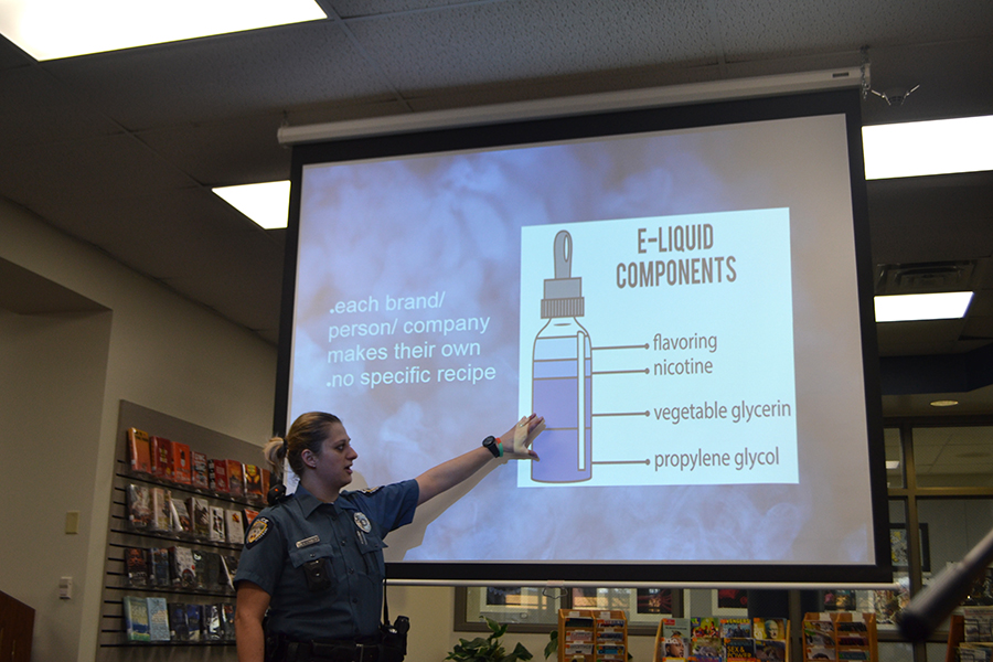 Rockwood Elementary SRO Sanda Smajlovic presents information on vaping to faculty on March 21, 2018 during the faculty meeting at a school late start.