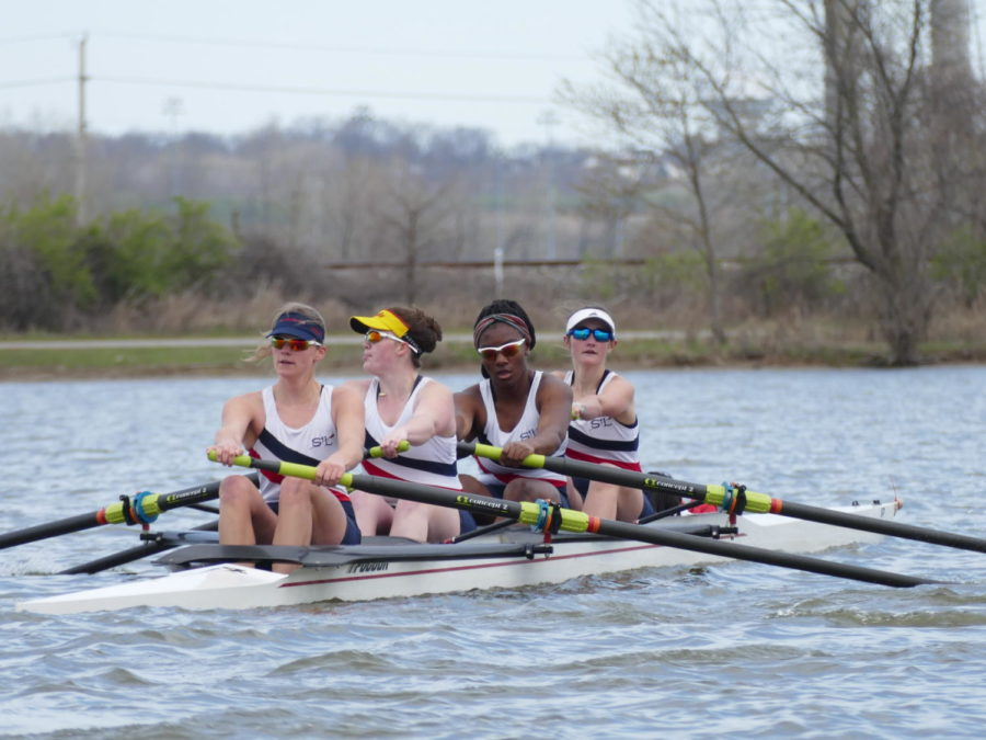 Seated+in+the+varsity+top+four%2C+seniors+Drew+Harris+and+Katy+Ward+race+down+the+lake+with+seniors+Jeri+Rhodes+and+Miranda+Horn.+Their+boat+came+in+first+place+in+their+race.+%E2%80%9CI+can%E2%80%99t+imagine+not+seeing+these+girls+every+single+day.+No+matter+what+kind+of+day+I%E2%80%99m+having%2C+the+second+I+walk+into+the+boathouse+my+mood+completely+changes%2C%E2%80%9D+Harris+said.+%E2%80%9CMy+team+is+a+second+family+and+being+without+them+is+definitely+going+to+be+one+of+the+hardest+adjustments+I+have+to+make.%E2%80%9D%0A